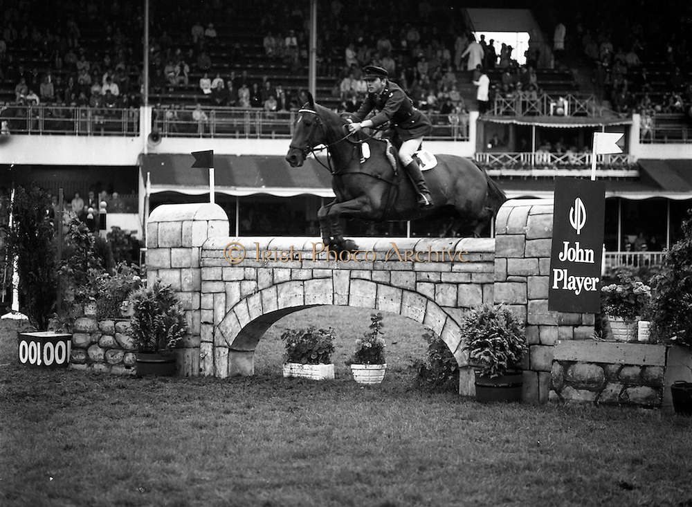 "07/08/1980<br /> 08/07/1980<br /> 07 August 1980<br /> R.D.S. Horse Show: John Player International, Ballsbridge, Dublin. Captain Gerry Mullins (Ireland) on ""Rockbarton""."