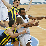 Efes Pilsen's Bootsy THORNTON (C) during their Turkish Basketball Legague Play-Off semi final second match Efes Pilsen between Fenerbahce at the Sinan Erdem Arena in Istanbul Turkey on Friday 27 May 2011. Photo by TURKPIX