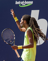 28.07.2014, Sportpark, Kitzbuehel, AUT, ATP World Tour, bet at home Cup 2014, Hauptrunde, Einzel, im Bild Dustin Brown (GER) // Dustin Brown of Germany reacts during men's singles at the main round of bet at home Cup 2014 tennis tournament of the ATP World Tour at the Sportpark in Kitzbuehel, Austria on 2014/07/28. EXPA Pictures © 2014, PhotoCredit: EXPA/ Johann Groder