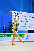 Tikkanen Jouki  during qualifying at ribbon in Pesaro World Cup 02 April 2016. Jouki was born 5 July, 1995. She is a Finnish individual rhythmic gymnast.