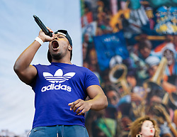 © Licensed to London News Pictures. 07/06/2013. London, UK.   Kesi Dryden of Rudimental performing live at Finsbury Park, supporting headliner The Stone Roses .   Rudimental are an English electronic music quartet consisting of songwriters and producers Piers Agget, Kesi Dryden, Amir Amor and DJ Locksmith.  Photo credit : Richard Isaac/LNP