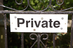 Private property sign on a gate,
