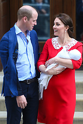 The new Royal Baby, The Duke and Duchess of Cambridge's third, a boy, greets the world at the Lindo Wing of St Mary's Hospital, Paddington, London, April 23 2018.
