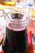 Restaurant Pe de Vinho. Carafe pitcher of table wine. Azeitao, Portugal.