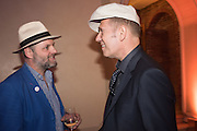 GAVIN TURK; PAUL SIMONON, Sarah Lucas- Scream Daddio party hosted by Sadie Coles HQ and Gladstone Gallery at Palazzo Zeno. Venice. 6 May 2015.