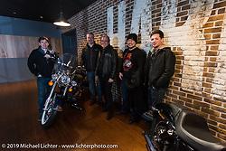 Harley-Davidson design team members visit Harley-Davidson Japan's headquarters. (L>R) Charlie Wartgow, Stuart Farrell (head of HD Japan), Ray Drea (head of design), Dais Nagao and Ben McGinley. Tokyo, Japan. Tuesday, December 9, 2014. Photograph ©2014 Michael Lichter.