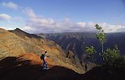 Hiker, Waimea Canyon, Kauai, Hawaii<br />