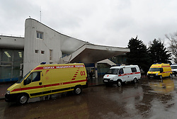 Ambulances park at the Rostov-on-Don airport, in Russia, March 19, 2016. A Boeing 737-800 passenger plane from Dubai crashed at the destination airport in southwestern Russia early Saturday, killing all the 62 people on board, authorities said. EXPA Pictures © 2016, PhotoCredit: EXPA/ Photoshot/ Sputnik<br /> <br /> *****ATTENTION - for AUT, SLO, CRO, SRB, BIH, MAZ, SUI only*****