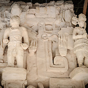"Carved decorations on the exterior of the Tomb of Ukit Kan Le'k Tok' on top of the Acropolis on the northern side of the Ek'Balam archeological site on Mexico's Yucatan Peninsula. It was once a thriving city of Maya Civilization dating to the Late Classic period. It is 30km north of Valladolid and is named for ""Black Jaguar"" a distinctive motif throughout the site."