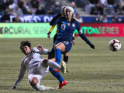 February 28, 2019 - Chester, United States - Arisa Matsubara  of Japan tackles Alex Morgan  of The United States.during the She Believes Cup football match between The United States and Japan at Talen Energy Stadium on February 27, 2019 in Chester, Pennsylvania, United States. (Credit Image: © Action Foto Sport/NurPhoto via ZUMA Press)
