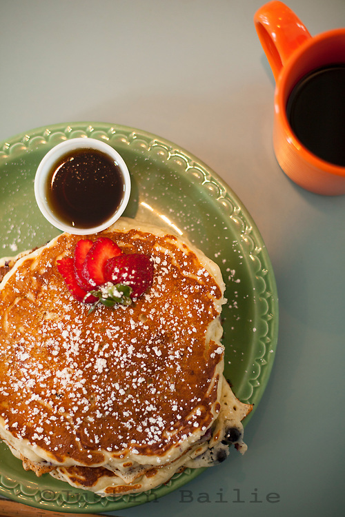 Pancakes and coffee.