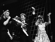 """Eurosong 1988.    (R74)..1988..06.03.1988..03.06.1988..6th March 1988..At the Olympia Theatre, Dublin the Eurosong contest was held last night. The winning song """"Take Him Home"""" penned by Peter Eades and performed by the group """"Jump The Gun"""". Peter Eades is the keyboard player with the group. As Ireland are the holders, thanks to Johnny Logans win Brussels, """"Jump The Gun"""" will represent Ireland at the Simmonscourt in April...Image shows 'Maxi' presenting Peter Eades with his winners medal after his song """"Take Him Home"""" won him the right to represent Ireland at The Eurovision Grand Prix."""