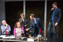 """© Licensed to London News Pictures. 16/04/2015. London, England. L-R: Jim Bywater, Clare Higgins, John Atterbury, Greg Hicks and Ryan Wichert. Arcola Theatre presents the World Premiere of the Fleet Street comedy """"Clarion"""" by Mark Jagasia. The play is directed by Mehmet Ergen with Greg Hicks as power-crazed editor Morris Honeyspoon and Clare Higgins as washed-up journalist Verity Stokes. """"Clarion"""" runs at the Arcola from 15 April to 16 May 2015. Photo credit: Bettina Strenske/LNP"""