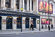 Closed doors of the Garrick Theatre which is showing Death Drop  in the West End as the national coronavirus lockdown three continues and theatres have to remain shut on 28th January 2021 in London, United Kingdom. Following the surge in cases over the Winter including a new UK variant of Covid-19, this nationwide lockdown advises all citizens to follow the message to stay at home, protect the NHS and save lives.