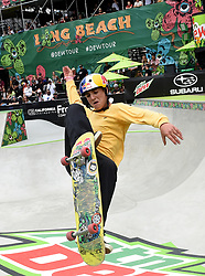 June 15, 2019 - Long Beach, California, U.S. - Alessandro Mazzara of Italy competes in the Men's Park Skateboard SemiFinal during the Dew Tour at the Long Beach Convention Center on Saturday, June 15, 2019 in Long Beach, California. (Credit Image: © Medianews Group/SCNG via ZUMA Wire)