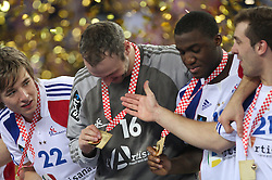 Xavier Barachet (22) of France, Goalkeeper of France Thierry Omeyer, Luc Abalo (19) and Michael Guigou (21) of France celebrate after the 21st Men's World Handball Championship 2009 Gold medal match between National teams of France and Croatia, on February 1, 2009, in Arena Zagreb, Zagreb, Croatia. France won 24:19 and became World Champion 2009.  (Photo by Vid Ponikvar / Sportida)