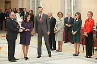 King Felipe VI of Spain gives an award during the 2013 Sports National Awards ceremony at El Pardo palace in Madrid, Spain. December 03, 2014. (ALTERPHOTOS/Victor Blanco)