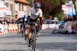 Elena Cecchini crosses the line to finish second at Dwars door de Westhoek 2016. A 127km road race starting and finishing in Boezinge, Belgium on 24th April 2016.