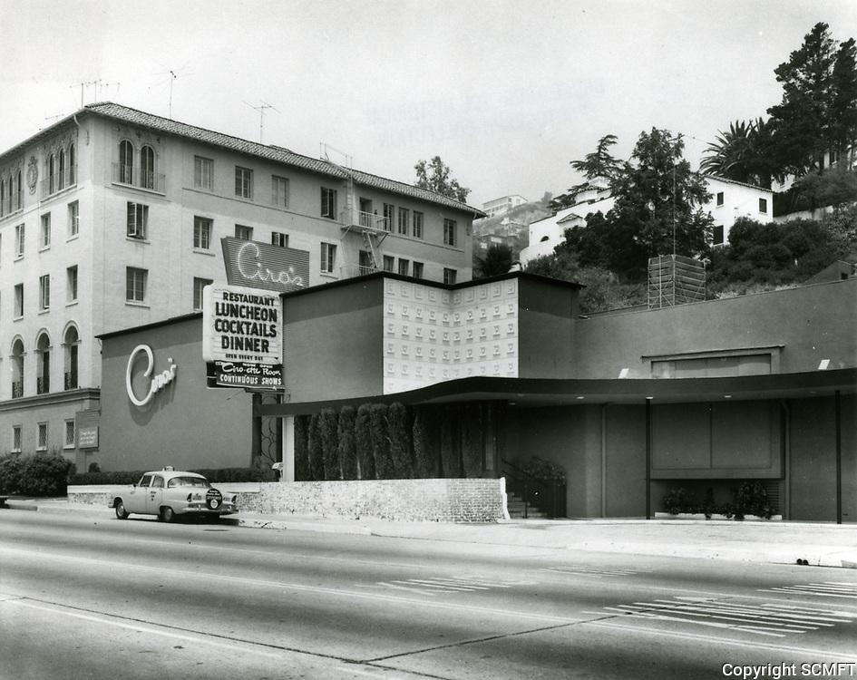 1953 Ciro's Nightclub on Sunset Blvd. in West Hollywood