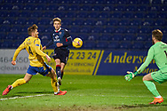 Oli Shaw of Ross County strikes during the Scottish Premiership match between Ross County FC and St Johnstone FC at the Global Energy Stadium, Dingwall, Scotland on 2 January 2021during the Scottish Premiership match between Ross County FC and St Johnstone FC at the Global Energy Stadium, Dingwall, Scotland on 2 January 2021