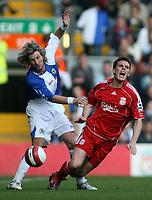 Photo: Paul Thomas.<br /> Liverpool v Blackburn Rovers. The Barclays Premiership. 14/10/2006.<br /> <br /> Robbie Savage (L) of Blackburn fouls Steve Finnan.