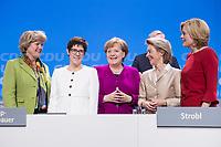 26 FEB 2018, BERLIN/GERMANY:<br /> Monika Gruetters, CDU, Staatsministerin im Bundeskanzleramt, Annegret Kramp-Karrenbauer, CDU, desig. Generalsekretaerin, Angela Merkel, CDU, Bundeskanzlerin, Ursula von der Leyen, CDU, Bundesverteidigungsministerin, und Julia Kloeckner, CDU Landesvorsitzende Rheinland-Pfalz, (v.L.n.R.), CDU Bundesparteitag, Station Berlin<br /> IMAGE: 20180226-01-155<br /> KEYWORDS: Party Congress, Parteitag, Monika Grütters, Julia Klöckner