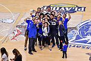 Tifosi Orgoglio Biancoblu, Gianmarco Pozzecco<br /> Banco di Sardegna Dinamo Sassari - AX Armani Exchange Olimpia Milano<br /> LBA Serie A Postemobile 2018-2019 Playoff Semifinale Gara 3<br /> Sassari, 02/06/2019<br /> Foto L.Canu / Ciamillo-Castoria