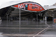 National coronavirus lockdown three begins in Birmingham city centre outside Grand Central Station entrance, which is deserted apart from a few people beneath a public health advice advertising campaign featuring Bully the Bull Ring bull wearing a face mask with the slogan Its NO bull. Keep your city safe on 6th January 2021 in Birmingham, United Kingdom. Following the recent surge in cases including the new variant of Covid-19, this nationwide lockdown, which is an effective Tier Five, came into operation today, with all citizens to follow the message to stay at home, protect the NHS and save lives.