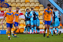 Cambridge United players celebrate their third goal - Mandatory by-line: Ryan Crockett/JMP - 20/02/2021 - FOOTBALL - One Call Stadium - Mansfield, England - Mansfield Town v Cambridge United - Sky Bet League Two