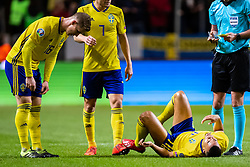March 23, 2019 - Stockholm, SWEDEN - 190323  Robin Quaison of Sweden is in pain during the UEFA Euro Qualifier football match between Sweden and Romania on March 23, 2019 in Stockholm. (Credit Image: © Mathilda Ahlberg/Bildbyran via ZUMA Press)