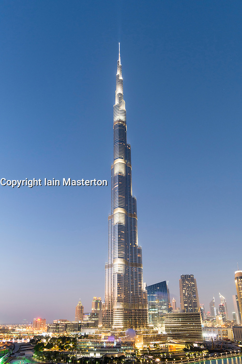 Evening view of Burj Khalifa skyscraper in Dubai United Arab Emirates