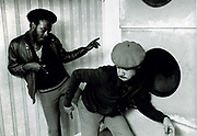 Youths dancing in front of unpainted speakers. Photo by Richard Saunders 1983