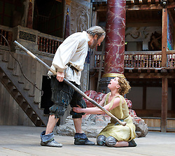 The Tempest By William Shakespeare, The Globe Theatre, London, Great Britain..Directed by Jeremy Herrin, designed by Max Jones, music by Stephen Warbeck..Roger Allam. Prospero..Jessie Buckley. Miranda, on April 26, 2013, on April 29, 2013. Photo by Elliott Franks / i-Images. .