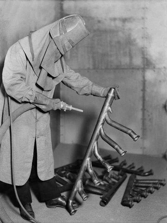 Man at De Haviland Airplane Factory, Hatfield, Hartfordshire, England, 1935