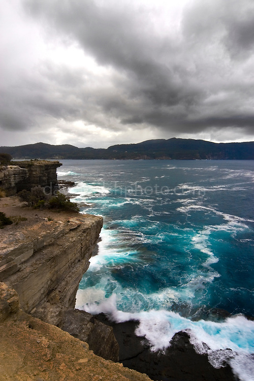 The dramatic view from the Blowhole near Eaglehawk Neck, Tasmania.