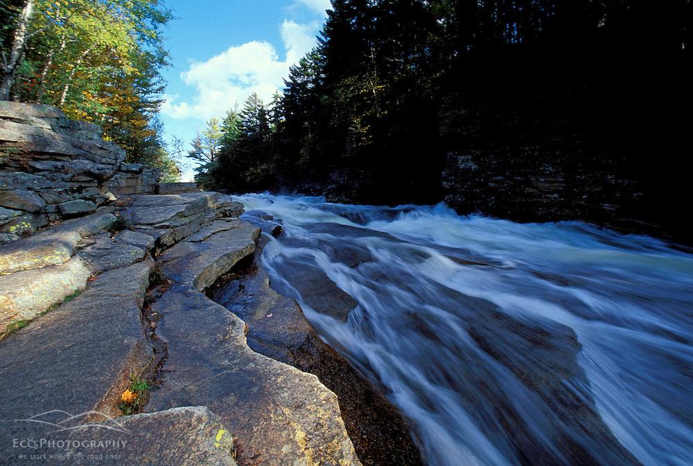 Ammonoosuc River -lower falls. Cohos Trail. Fall.  White Mountain N.F., NH