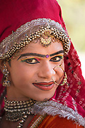 A performer of Kuchipudi, one of the ancient Indian classical dance forms where the womans role is taken by a man on the 20th January 2018  in the village of Shilpgram, Udaipur, India.