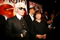 German designer/photographer Karl Lagerfeld and Lille mayor Martine Aubry attend the opening of Lagerfeld's photo exhibition held during the 'Transphotographiques' Festival at the Tri Postal in Lille, northern France on June 12, 2008. Photo by Mikael Libe