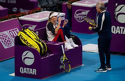 February 9, 2019 - Doha, QATAR - Caroline Wozniacki of Denmark practices ahead of the 2019 Qatar Total Open WTA Premier tennis tournament (Credit Image: © AFP7 via ZUMA Wire)
