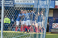 Portsmouth Players Celebrate after Portsmouth Forward, Oliver Hawkins (9) scores a goal to make it 1-0 during the EFL Sky Bet League 1 match between Portsmouth and Fleetwood Town at Fratton Park, Portsmouth, England on 20 October 2018.