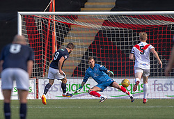 Raith Rovers Liam Buchanan scoring their second goal. Airdrie 3 v 4 Raith Rovers, Scottish Football League Division One played 25/8/2018 at the Excelsior Stadium.
