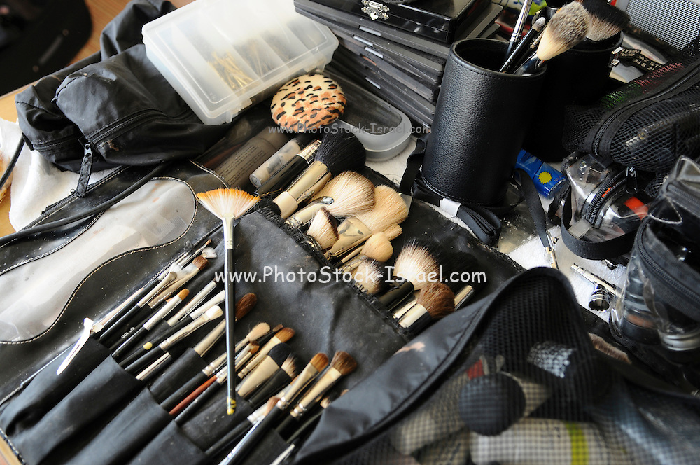 Make-up artist's bag with a variety of make-up brushes