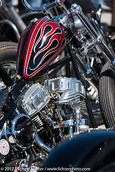 Detail of Chris Wade's custom Harley-Davidson Panhead at the Choppertime Old School Bike Show held at Willie's Tropical Tattoo during Daytona Bike Week. Ormond Beach, FL. USA. Thursday March 16, 2017. Photography ©2017 Michael Lichter.