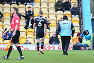 Grimsby Town defender Luke Waterfall (6) is sent off during the EFL Sky Bet League 2 match between Mansfield Town and Grimsby Town FC at the One Call Stadium, Mansfield, England on 4 January 2020.