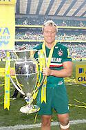 Picture by Andrew Tobin/Focus Images Ltd +44 7710 761829.25/05/2013. Jordan Crane of Leicester with the trophy during the Aviva Premiership match at Twickenham Stadium, Twickenham.