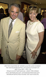 HRH THE COUNTESS OF WESSEX and MR JACK CASSIDY her new business partner, at a party in London on 26th June 2001. 	OPU 130