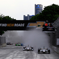 30 May, 2015, Detroit, Michigan, USA<br /> Will Power leads the field to the green flag at the start<br /> ©2015, Phillip Abbott<br /> LAT Photo USA