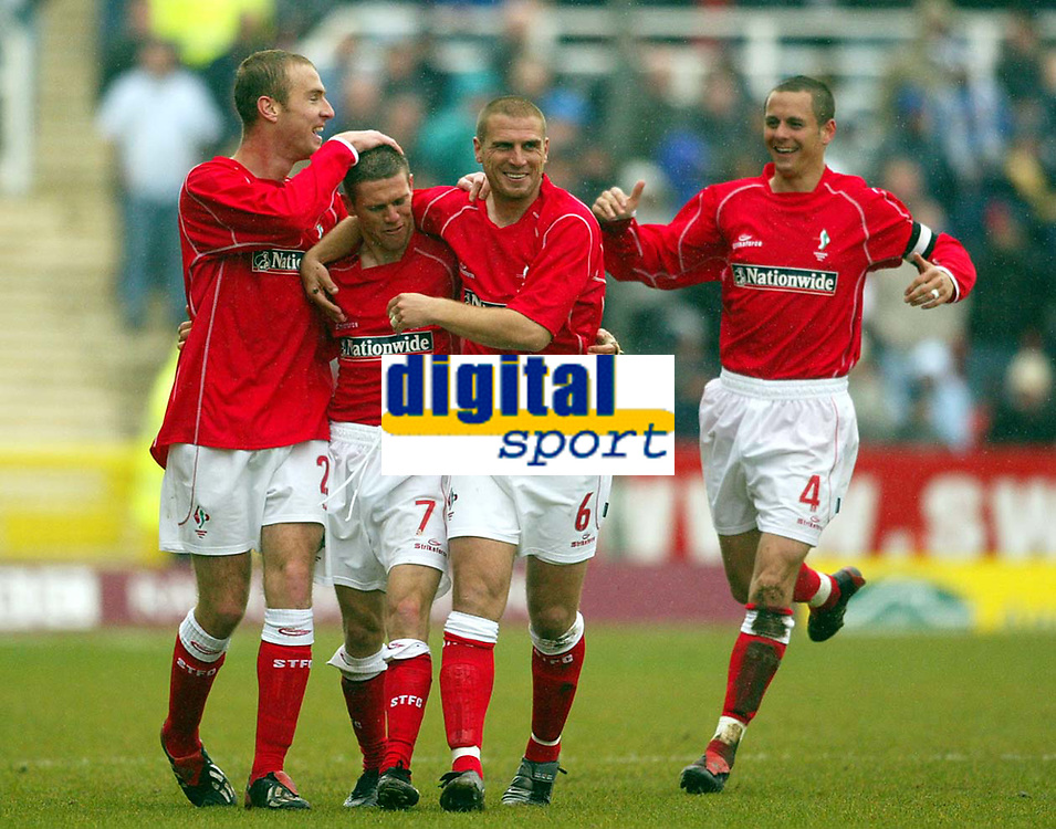Photo: Scott Heavey.<br /> Digitalsport<br /> NORWAY ONLY<br /> Swindon Town v Hartlepool United. Nationwide Division Two. 08/05/2004.<br /> Sammy Igoe (2nd from left) celebrates with Sean O'Hanlon (L) Andy Gurney (No.6) and captain Matthew Hewlett