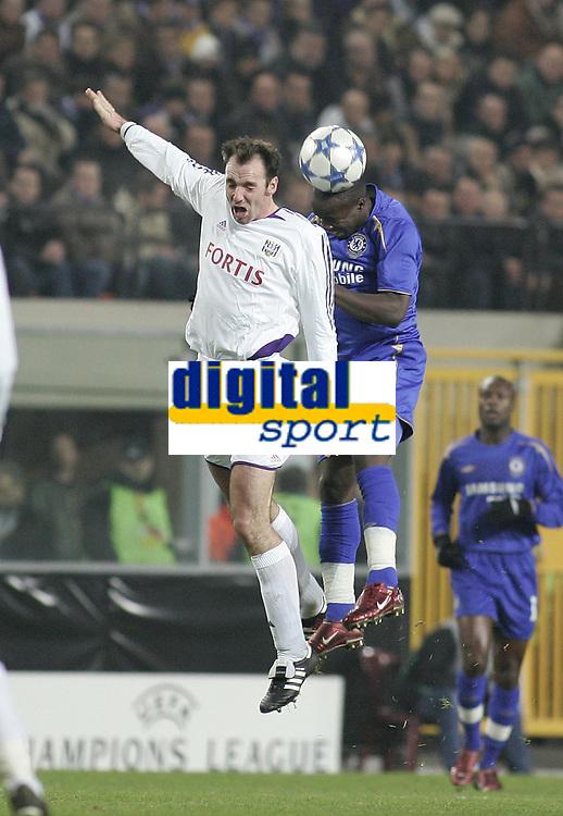 Photo: Barry Bland.<br />RSC Anderlecht v Chelsea. UEFA Champions League.<br />23/11/2005.<br />Chelsea's Lassana Diarra (R) and Bart Goor