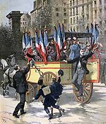 French army conscripts setting out for training. In 1892 10% less young men eligible for conscriptions than usual, perhaps due to the Franco-Prussian War twenty years earlier. 'Le Petit Journal', Paris, 5 March 1892.  France Military